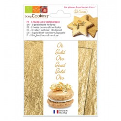 Feuilles d'or alimentaires x5 (22 carats)