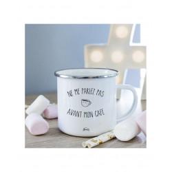 """Mug métal blc """"Pas avant mon café"""""""