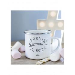 "Mug métal blanc ""Promis demain je bosse"""