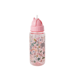 "Gourde plastique avec paille ""Jungle rose"" RICE"