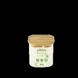 Bocal en verre carré 800ml avec couvercle bambou PEBBLY
