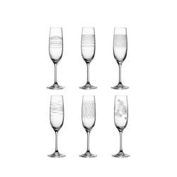 Lot de 6 flûtes à champagne gravés CASELLA