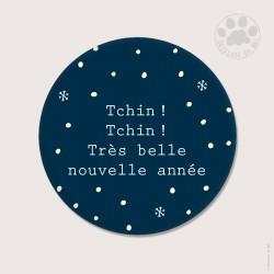 """Magnet rond 5,6cm """"Tchin! Tchin!"""" de Noël"""