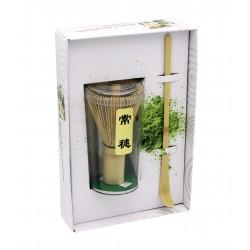 Fouet à thé matcha et spatule en bois