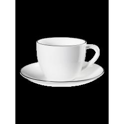 Tasse à cappuccino avec soucoupe Blanc Ligne noire ASA