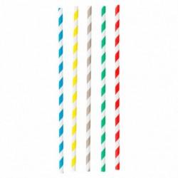 Lot de 50 pailles en carton de 5 couleurs