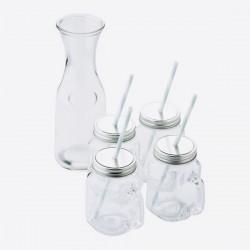 Coffret Carafe + 4 mugs-paille en verre