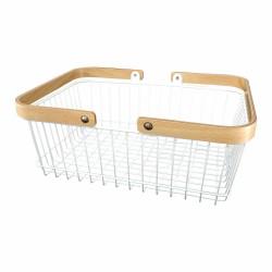 Panier rectangle blanc avec poignées en bois