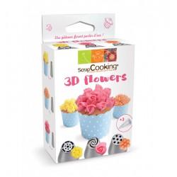 """Set de 3 douilles 3D """"Flowers"""" avec 3 poches jetables"""