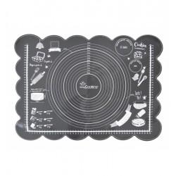Tapis étale-pâte en silicone noir avec marquage