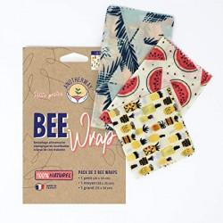 """Emballages réutilisables x3 à la cire d'abeille """"Ananas""""..."""