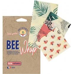 """Emballages réutilisables x3 à la cire d'abeille """"Flamand""""..."""