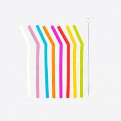 Lot de 8 pailles en silicone courbées multicolores avec...