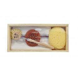 Coffret Vaisselle en bois avec éponges et torchon
