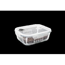 Boîte en verre rectangle 2,25L avec couvercle plastique...