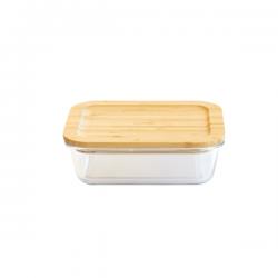 Boîte en verre rectangle 1L avec couvercle bambou PEBBLY