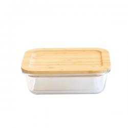 Boîte en verre rectangle 1,5L avec couvercle bambou PEBBLY