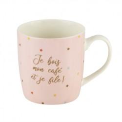 """Mug en céramique rose """"Je file"""""""