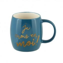 "Mug en céramique bleu et or ""Je crois en moi"""