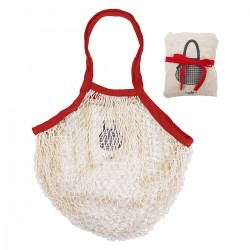 Sac filet pliable en coton bio Blanc/Rouge COOKUT
