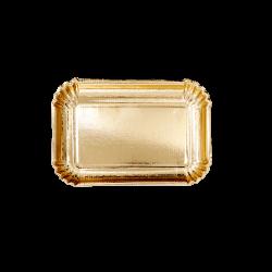 Lot de 6 petits plateaux rectangles dorés