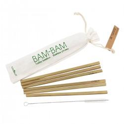 Lot de 6 pailles en bambou avec goupillon et pochette COOKUT