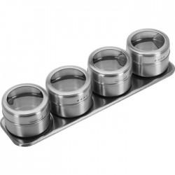 Set de 4 boîtes à épices en inox sur support aimanté