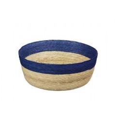 Corbeille en palmier 27cm bandeau Bleu