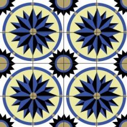 Eponge Carrée MARRAKECH 4 rosaces bleues