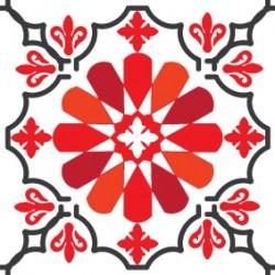 Eponge Carrée BRISBANE Blanc Rouge