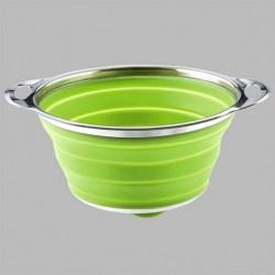 Passoire pliable en silicone et inox verte