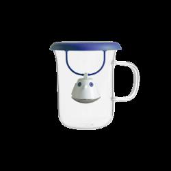 Tisanière BIRDIE mug en verre et couvercle Bleu