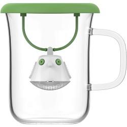 Tisanière BIRDIE mug en verre et couvercle Vert