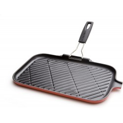 Grill en fonte rectangle 36cm Cerise avec poignée pliable...