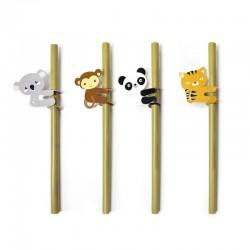 """Lot de 4 pailles en bambou """"Animaux"""" pour enfants"""