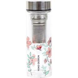 """Bouteille théière isotherme en verre """"Fleurs roses"""" YOKO"""