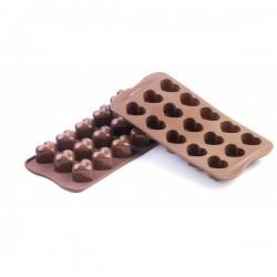 Moule à 15 chocolats mini coeurs en silicone SILIKOMART