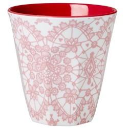 "Tasse Medium en mélamine ""Fleurs Corail"" 9cm RICE"