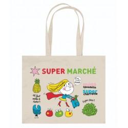 """Cabas en coton naturel """"Super Marché"""""""