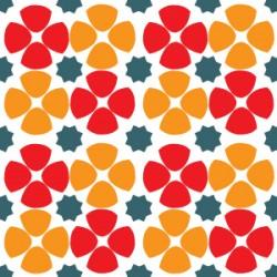 Eponge Carrée Fleurs orange/rouge