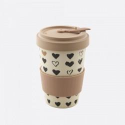 Mug en fibre de bambou Rose Coeur refermable