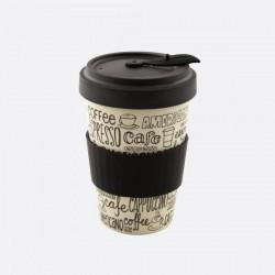 Mug en fibre de bambou Noir Coffee refermable