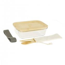 Lunch box en verre avec couverts bambou PEBBLY
