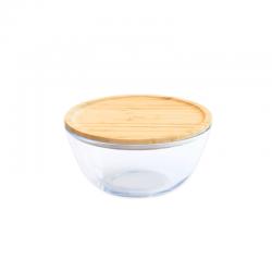 Bol en verre rond 1600ml avec couvercle bambou