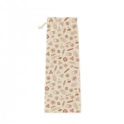 Sac à pain en coton bio L 65x20 Marron