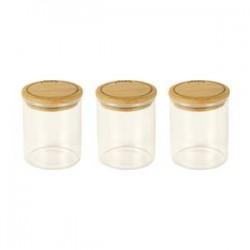 Set de 3 bocaux à épices verre 190ml +couv bambou