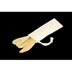 Kit 3 couverts bambou +pochon coton