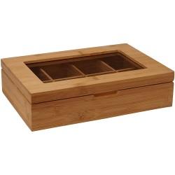 Boîte à sachets de thé bambou 8 comp avec vitre