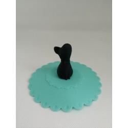 Couvercle tasse silicone Bleu avec Chien