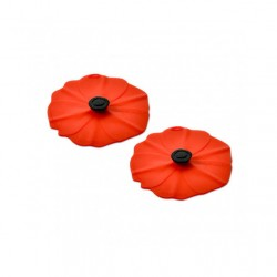 Couvercle tasse en silicone x2 Coquelicot Rouge
